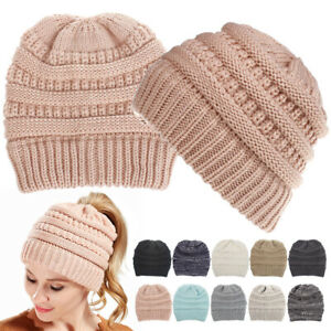 Fashion Autumn Winter Knitted Outdoors Beanie Hats Womens Warm Slouch Baggy Caps