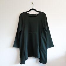 SCANLAN THEODORE 'trapeze long sleeve top' safari green round neck tunic SM