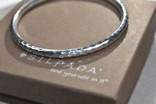 Silpada B1482 Slim .925 Sterling Silver Hammered Bangle Bracelet Solid Great!