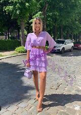 Lilac Pleated Zara Dress XL Extra Large 14 New With Belt