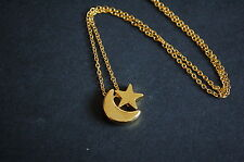 gold tone moon and star necklace kitsch emo sweet love