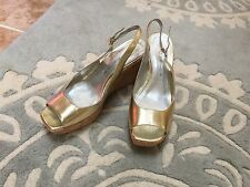 NEW Marc Fisher Gold Wedge Heels Shoes Sandals Open Peep Toe Leather 8.5