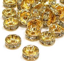 50 Metall Zwischenperlen Gold 8mm Rondell Glas Strass Spacer Perlen Schmuck R25B