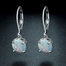 Sevil 18K White Gold Plated Round- Cut Created Opal Drop Earrings