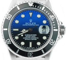 Rolex Submariner 16610 CUSTOM DEEP BLUE DIAL Stainless Steel Mens Dive Watch
