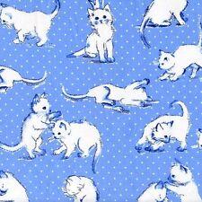 Kitten Play on Light Blue Quilt Fabric - Free Shipping - 1 Yard