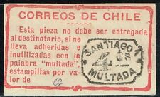 CHILE 1908 POSTAGE DUE OFFICIAL ADHESIVE LABEL STAMP MULTA USED #4 scarce item!!