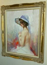 PINO DAENI - LADY IN SPRING BONNET 30 x 24 -ORIGINAL OIL CANVAS PAINTING -FRAMED