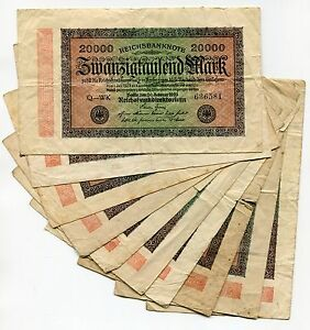 German Antique 1923 Banknote 20 000 Mark Reichsbanknote Money X 10 Note Lot