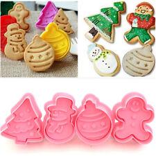 4Pcs Christmas Cookie Biscuit Plunger Cutter Mould Fondant Cake Mold Gadgets Set