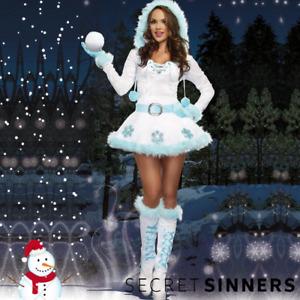 Secret Sinners Sexy Ladies Snowman Costume Christmas Fancy Dress Outfit Santa