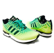 386bc85bffc Adidas ZX Flux XENO Mens Sz 12 Green Black Reflective Glow Running Shoes  AQ8212