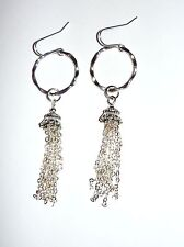 LARGE DANGLY HOOP TASSEL DROP EARRINGS