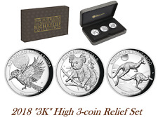 2018 High Relief Australian Kookaburra Kangaroo Koala Proof Silver 3-Coin Set