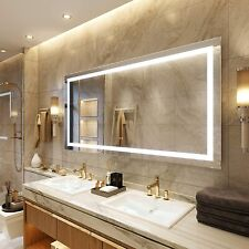 Led Lighted Bathroom Mirrors Wall Mounted Dimmable Anti-Fog Memory Touch Button