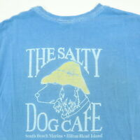 Destroyed Vtg Salty Dog Beach T-Shirt MEDIUM Nicely Faded Distressed Hilton Head