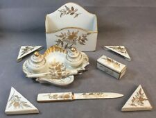 Vintage Gilt Porcelain Desk Set Double Inwell Stamp Box Blotter Corners & More