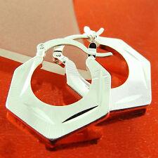 EARRINGS HOOPS GENUINE 925 STERLING SILVER S/F LADIES FILIGREE ANTIQUE DESIGN