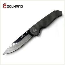 "Coolhand 2.7"" Black Mirror Ceramic Blade Folding Knife w/ Carbon Fiber Handle"