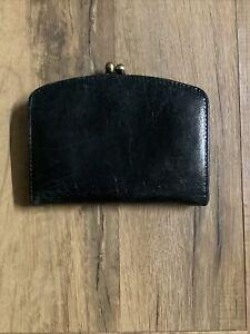Hobo International Black Distressed Leather  Kisslock Wallet