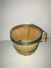 "Vintage Wood Slat Basket/Bucket with Wire and Wood Handle 8"" w x 6"" h"