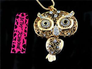 Enamel jewelry pendant Betsey Johnson owl full rhinestone gold necklace hot