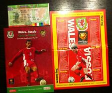 Walea V Russia Football Programme 2003 Euro Qualifying Play Off And Ticket