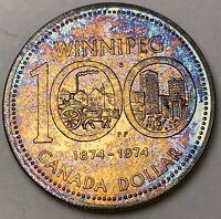 1974 CANADA SILVER DOLLAR PROOF COLOR BEAUTIFUL GOLDEN TONED GEM BU UNC (DR)