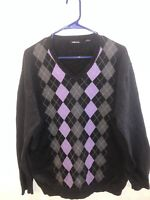 Claiborne Mens Cotton Dark Gray and Purple Argyle Sweater Size L