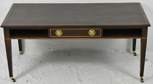 Stickley Mahogany Cocktail Table Coffee Table with Casters with Satinwood Inlays