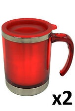 2 x 450ml Stainless Steel Double Wall Mug Drinks Hot Cold Travel Car Camping Red