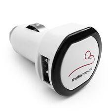 Motormouse Twin 2 Port USB 12V Cigarette Lighter Socket Car Charger  - White
