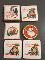 Lot Vtg MCM Christmas Paper Drink Coasters Tree Santa Candle Ornament Retro new