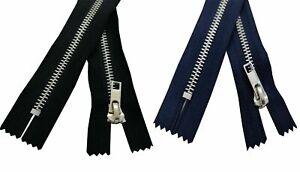 Metal Silver Teeth Zip 10 14 16 18 20cm Trousers Jeans Zipper Closed End UK