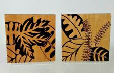 """2 Hand Carved Wood Plaques Set 8 x 8 x 3.3"""" Bas Relief Wall Art Handmade"""