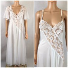 Vintage Val Mode Bridal White Nylon Double Chiifon Lace Peignoir Gown Robe  Set M 3e2ce456e