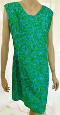 Vintage Green and Turquoise Silk Sleeveless Shift