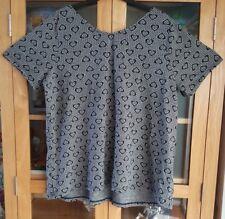 123 Evans Plus Sz 18 Grey Heart Print Scoop Neck V Neck Back Cap Sleeve Top