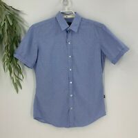 Hugo Boss Mens Sharp Fit Short Sleeve Button Down Shirt Size M Blue Stripe C9
