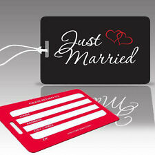 TagCrazy Wedding Luggage Tags, Just Married, Durable Plastic Loops- 1 Pack