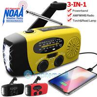 4xSolar Hand Crank Dynamo AM//FM//NOAA Weather Radio LED Flashlight Charge Outdoor