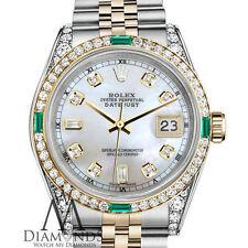 Ladies Rolex Steel&Gold 26mmDatejust Watch White MOP 8+2 Emerald Diamond Dial