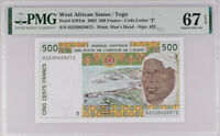 West African States Togo 500 Francs 2002 P 810Tm Superb Gem UNC PMG 67 EPQ