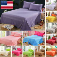 Bed Flat Sheets Twin Full Queen Size Bedding Flat Sheet Pillowcase Solid Color