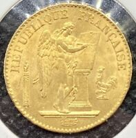 """1875-A France Gold 20 Francs """"The Lucky Angel"""" Brilliant Uncirculated (BU) Coin!"""