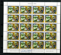 Liberia Stamps Arthur Szyk Signed Complete Full Color Sheet of 20 VF OG NH + LH