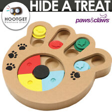 Pet Dog Wooden IQ Training Toy Interactive Game Food Dispensing Puzzle Plate