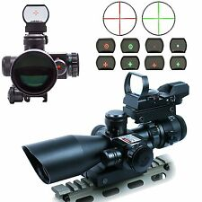 2.5-10X40 Tactical Rifle Scope with Red Laser & Green-Red Dot Sight with Weaver