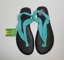 New Womens Size 7 SANUK Yoga Triangle Sandals Flip Flops SWS11050 Turquoise Nwt