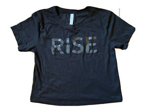 Athleta Women's Super soft Comfortable Workout RISE Crop Tee Black Size Small